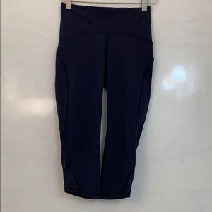 Lululemon navy crop leggings with sheer sides